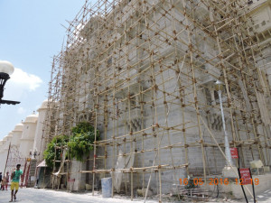 Scaffolding on the exterior of Amar Mahal